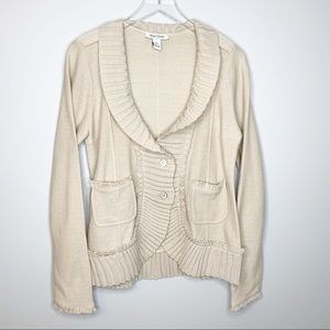 WHBM Tan Ribbed Trim Wool Blend Cardigan Large